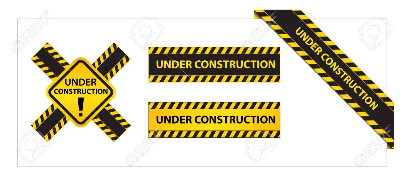 Set of Labels and Ribbons with Under Construction Tag Stock Vector - 14955183