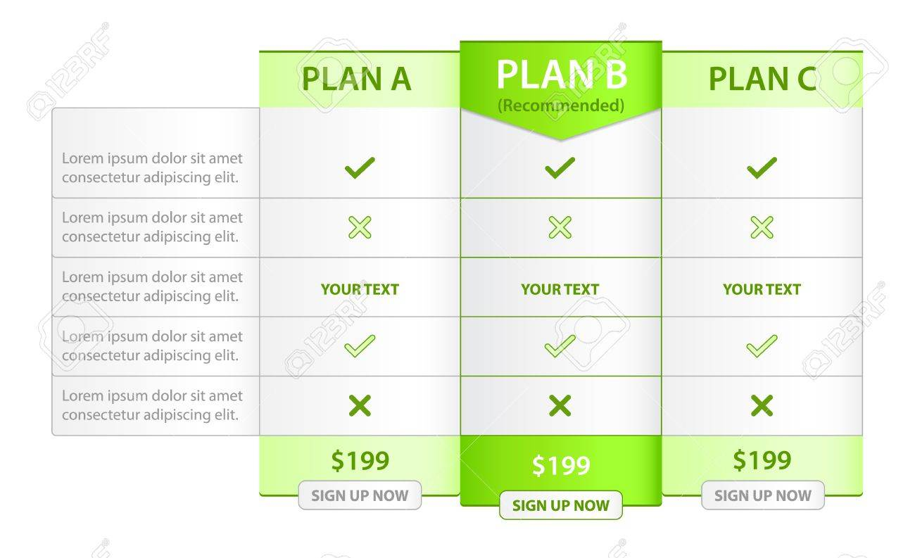 Pricing List with Recommended Option Stock Vector - 16601898