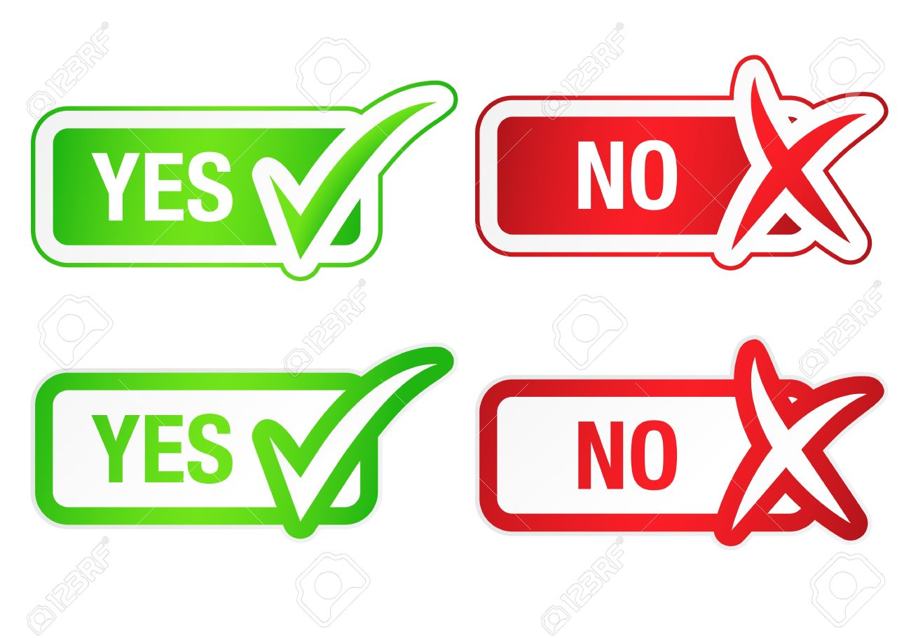 YES and NO Checkmarks Buttons Stock Vector - 16601462