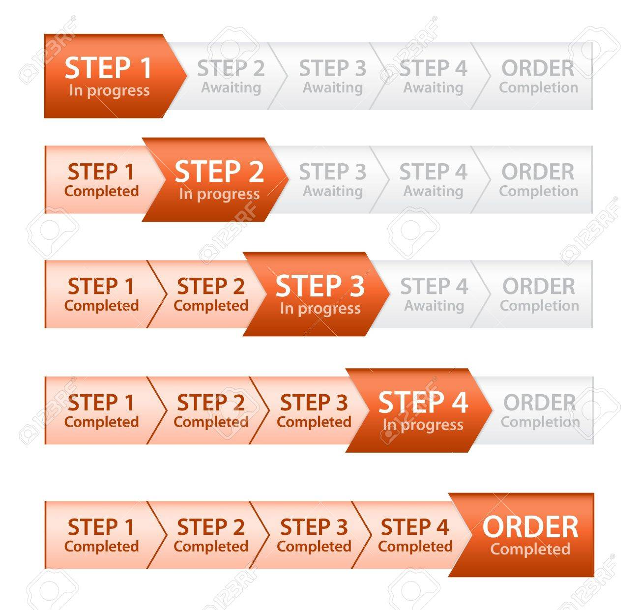 Orange Progress Bar for Order Process Stock Vector - 17209131