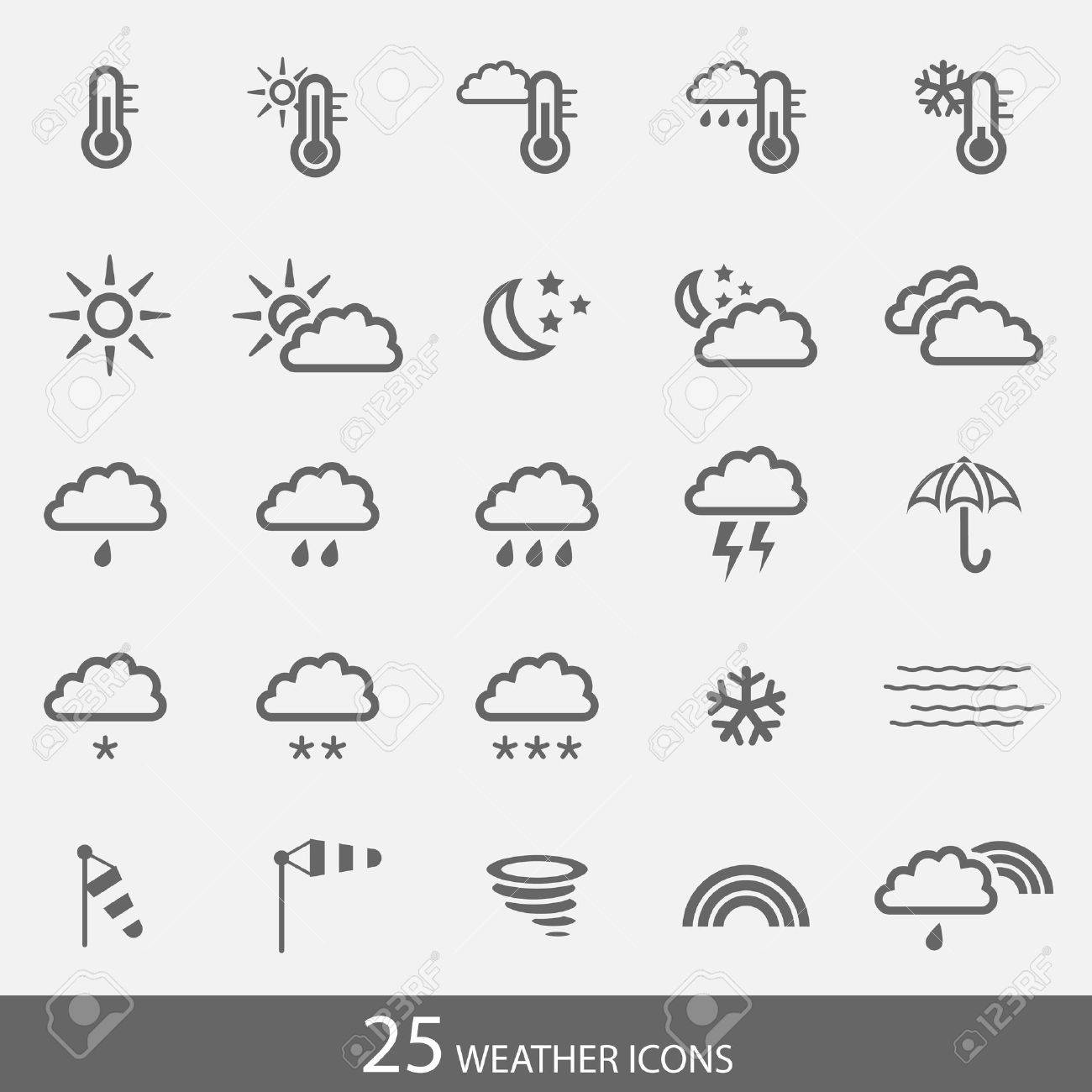 Set of 25 weather icons with stroke. Simple grey icons for web and applications. Stock Vector - 18045101
