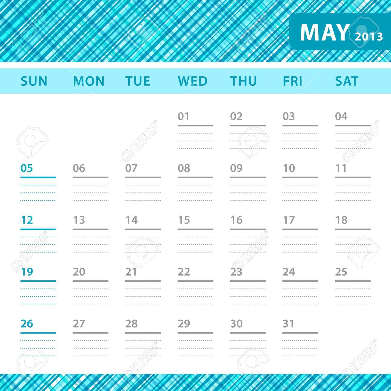 May 2013 Planning Callendar With Space For Notes. Checked Blue ...
