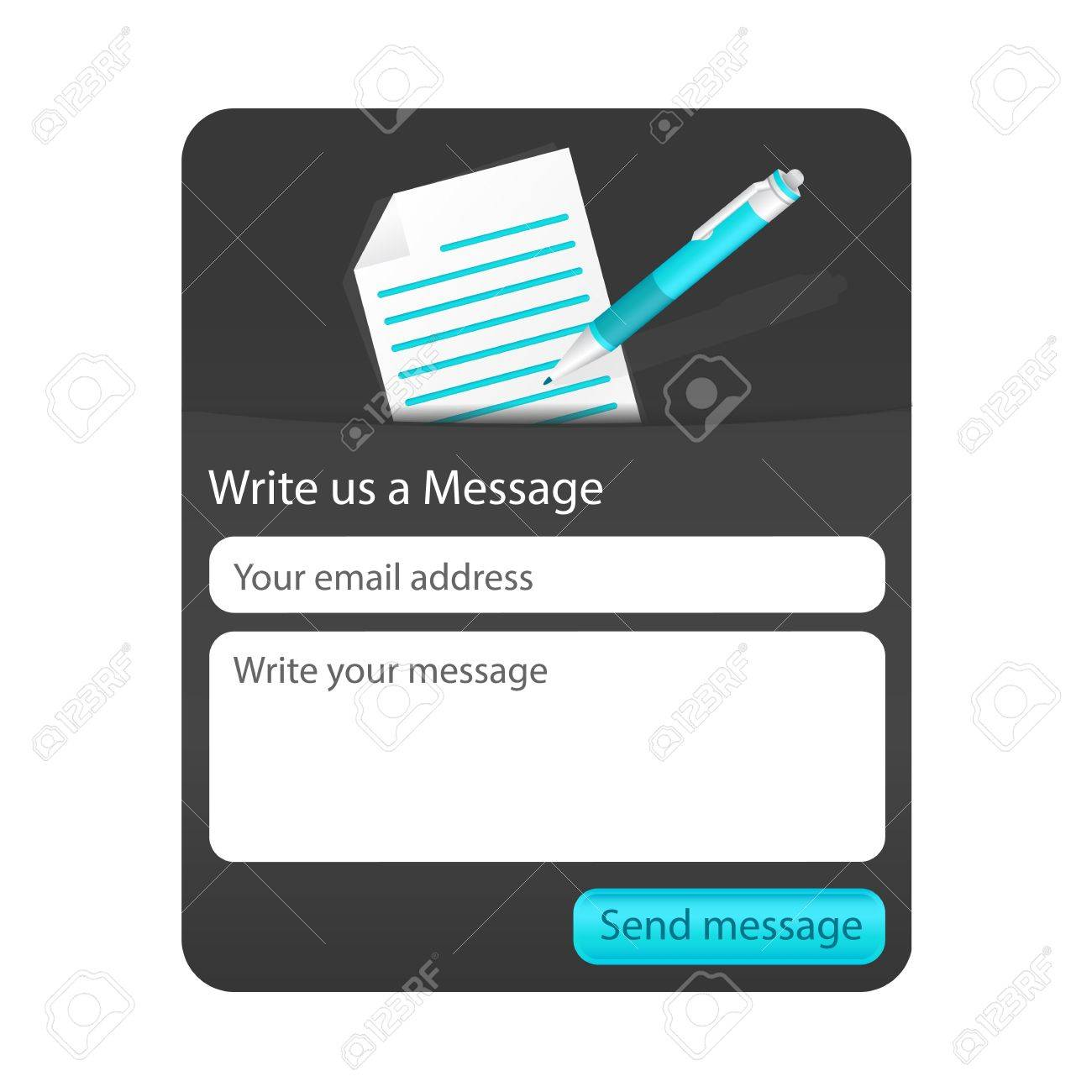 Dark contact us form with light document and blue ballpoint. Form for web and mobile devices Stock Vector - 18197228
