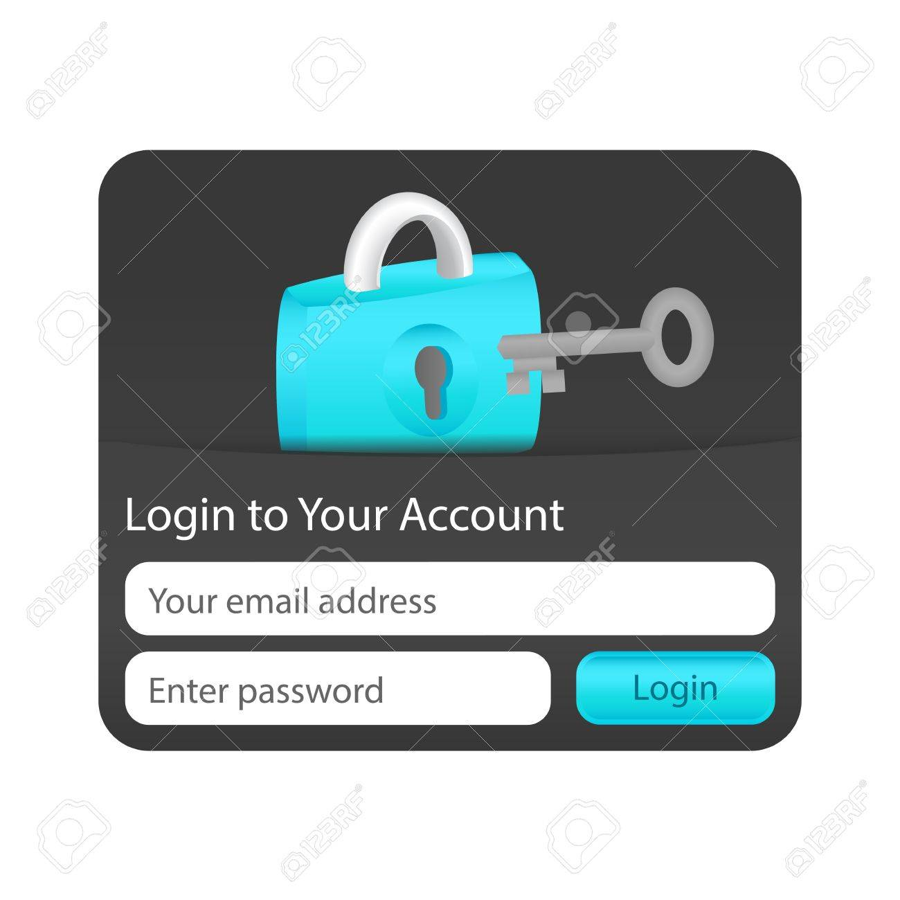 Login to your account form for websites and applications with lock icon and grey key Stock Vector - 18197225