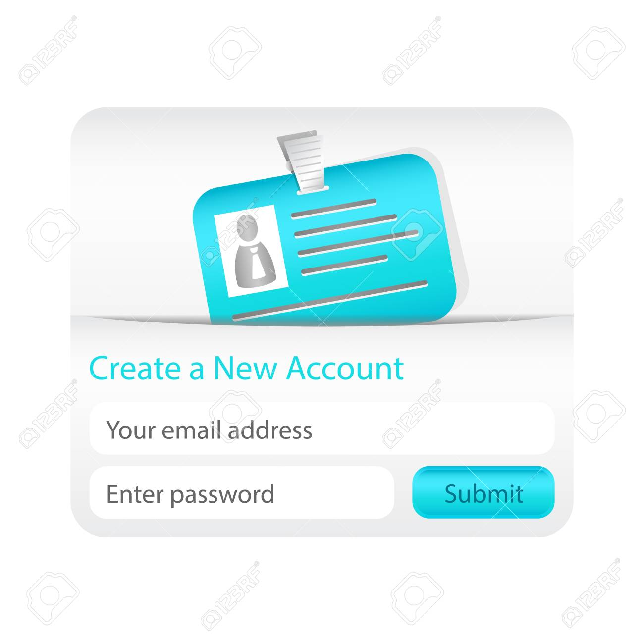 Create a new account form with light blue ID card. Element for websites and mobile applications Stock Vector - 18197221