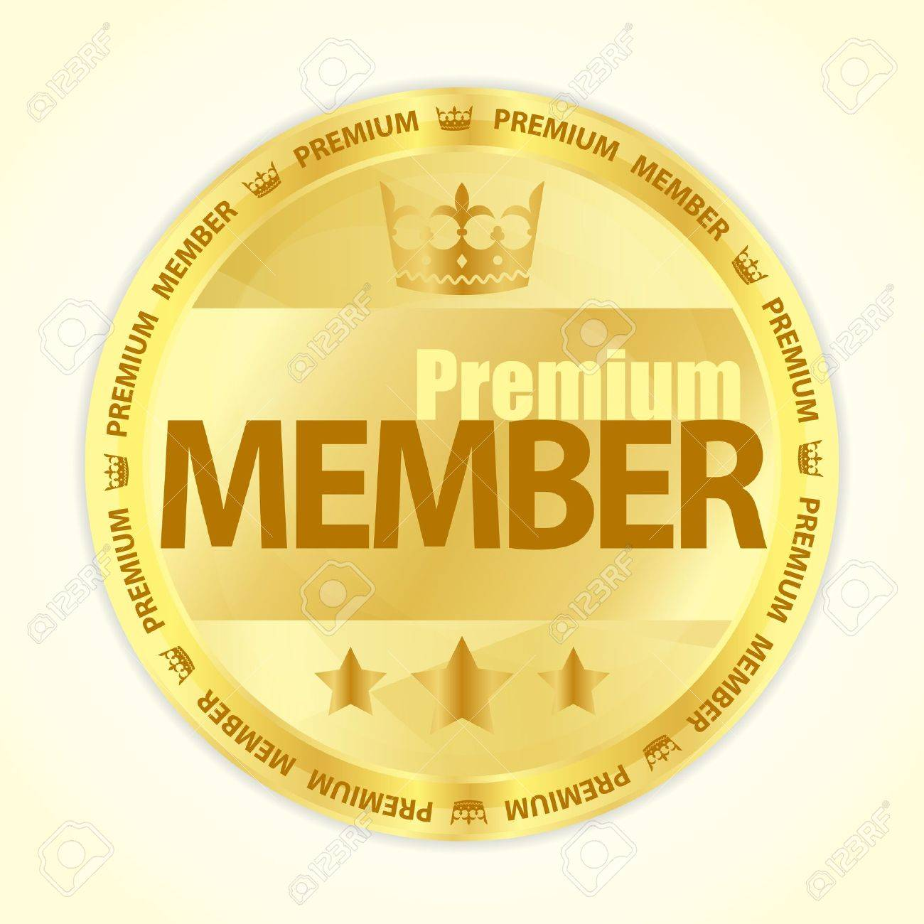 badge with title premium member in gold color royalty free