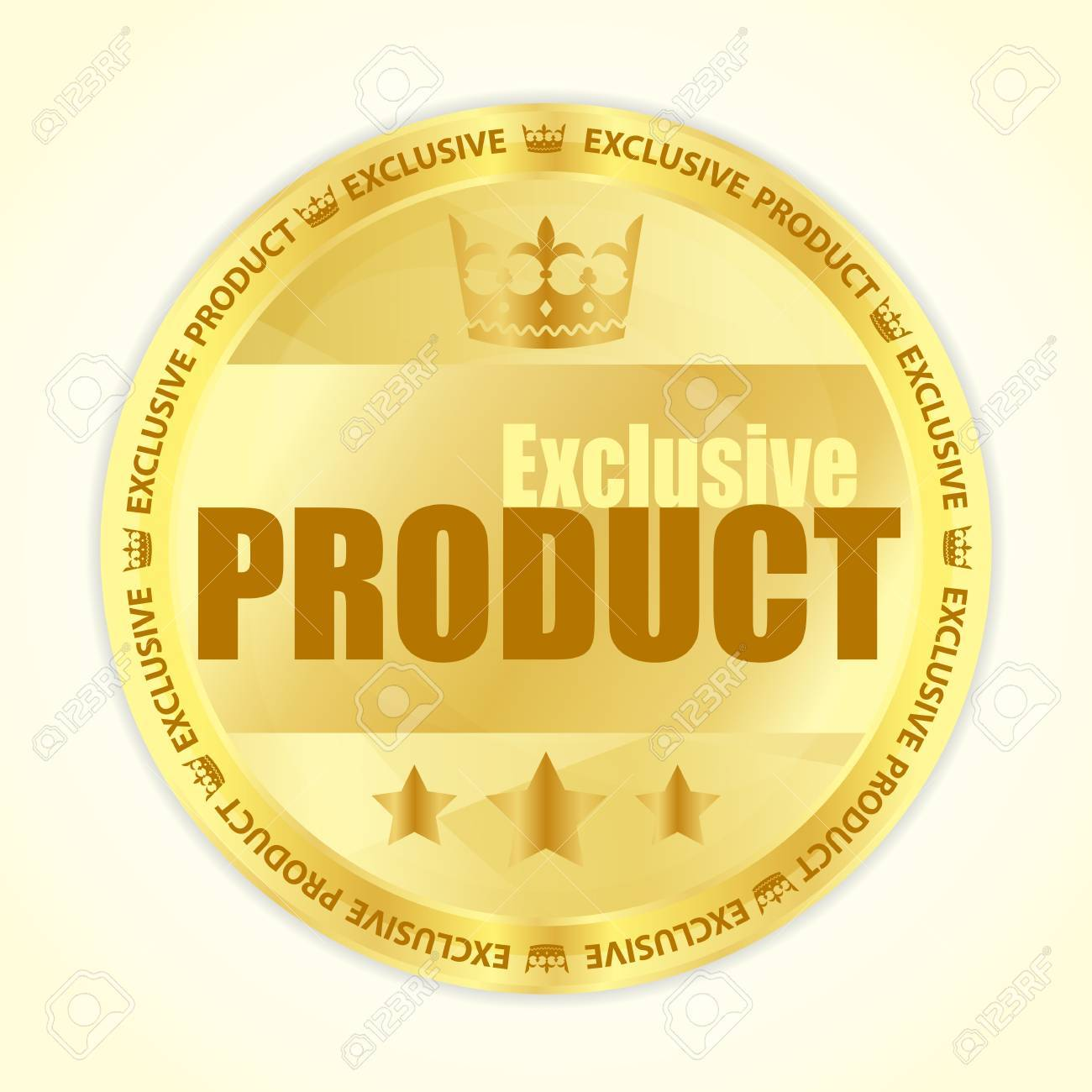 Premium member badge with royal crown and three golden stars Stock Vector - 18990111