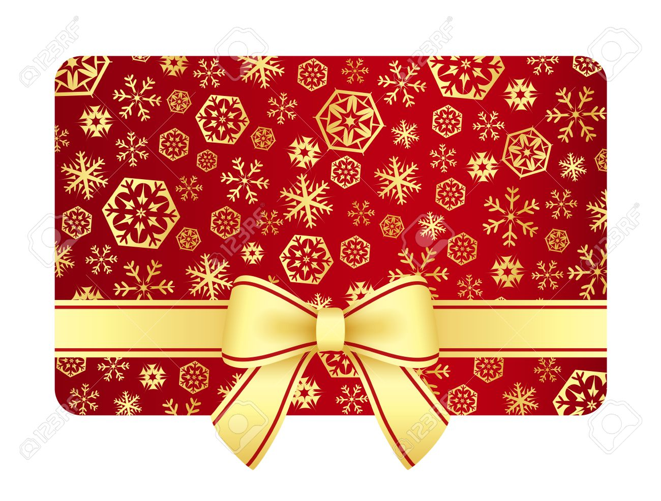 Luxury Christmas Gift Card With Golden Snowflakes And Ribbon Royalty ...