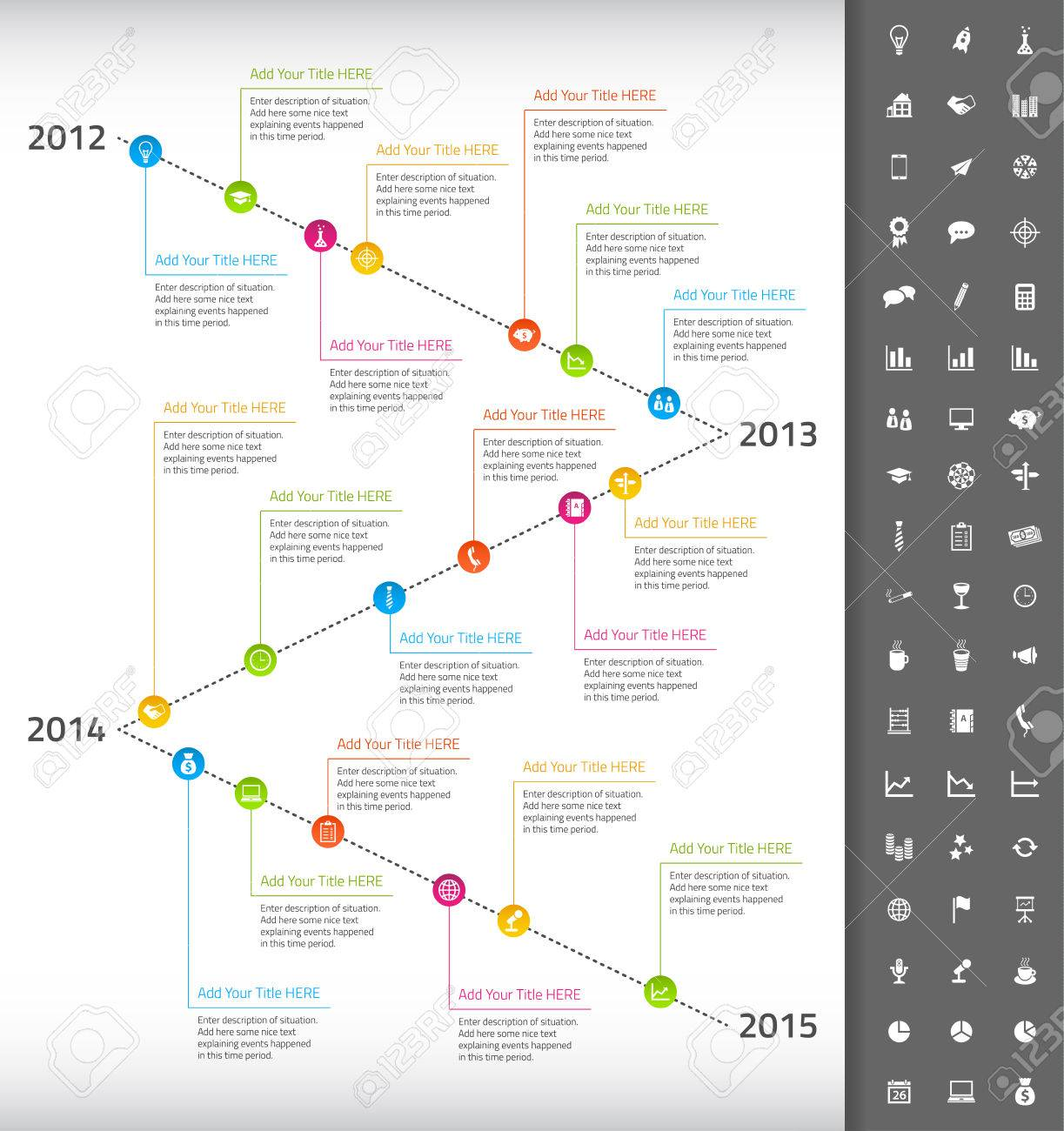 Timeline With Rainbow Milestones And Event Icons Royalty Free ...