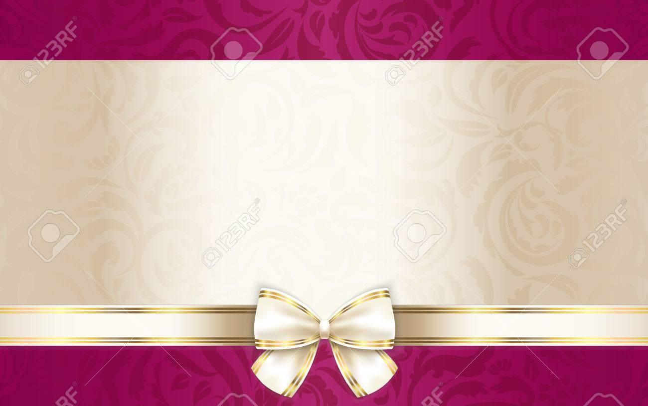 Luxury Gift Certificate With Floral Pattern And Cream Ribbon Royalty ...