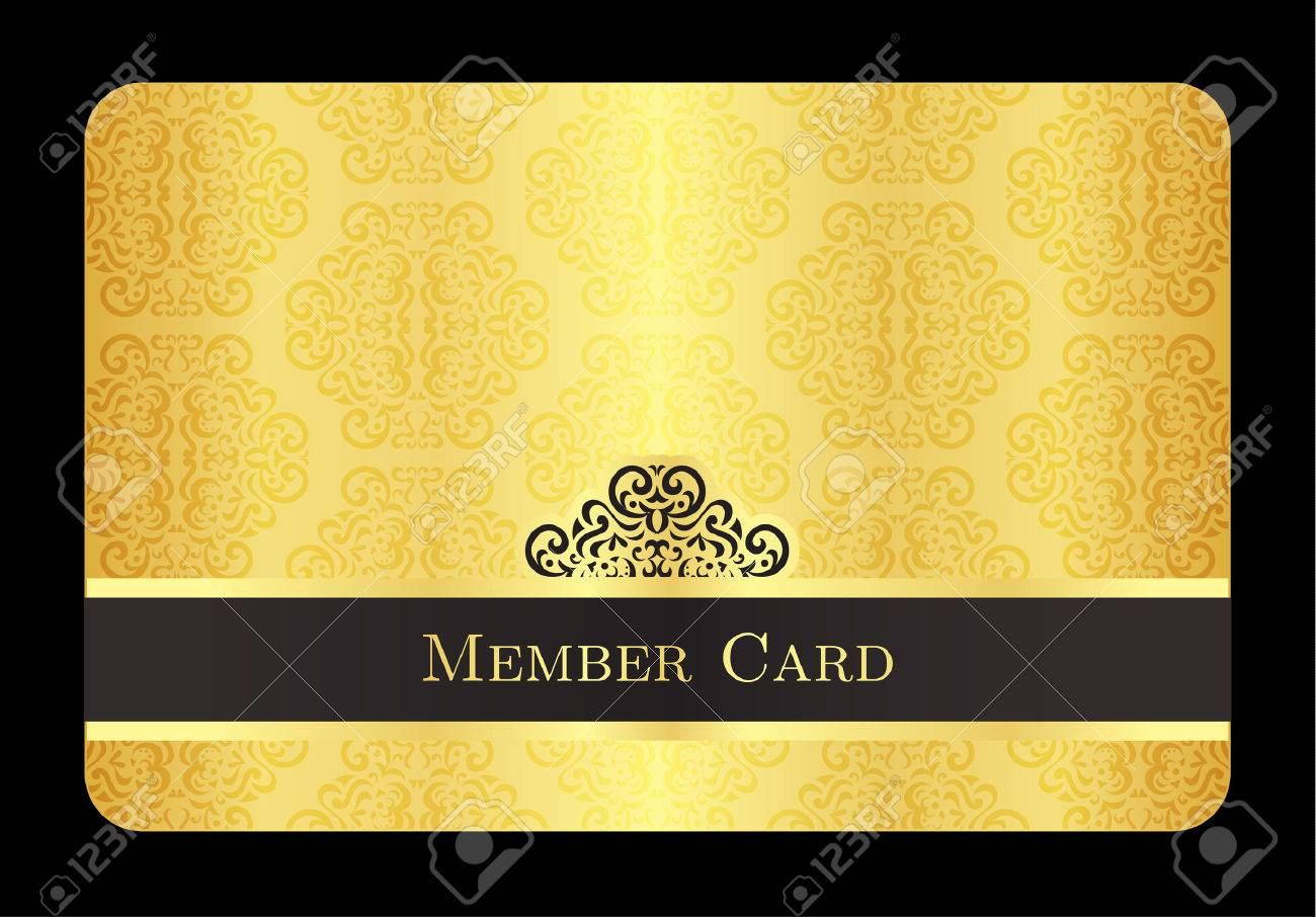 Exceptional Club Membership Card Template 39022324 Golden Member Card With Classic  Vintage Pattern Stock Vector Vip Club  Membership Card Template