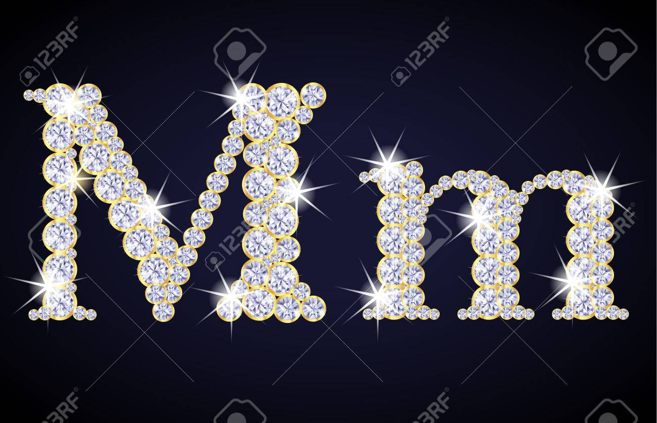 Letter M Composed From Diamonds With Golden Frame Complete Alphabet Set