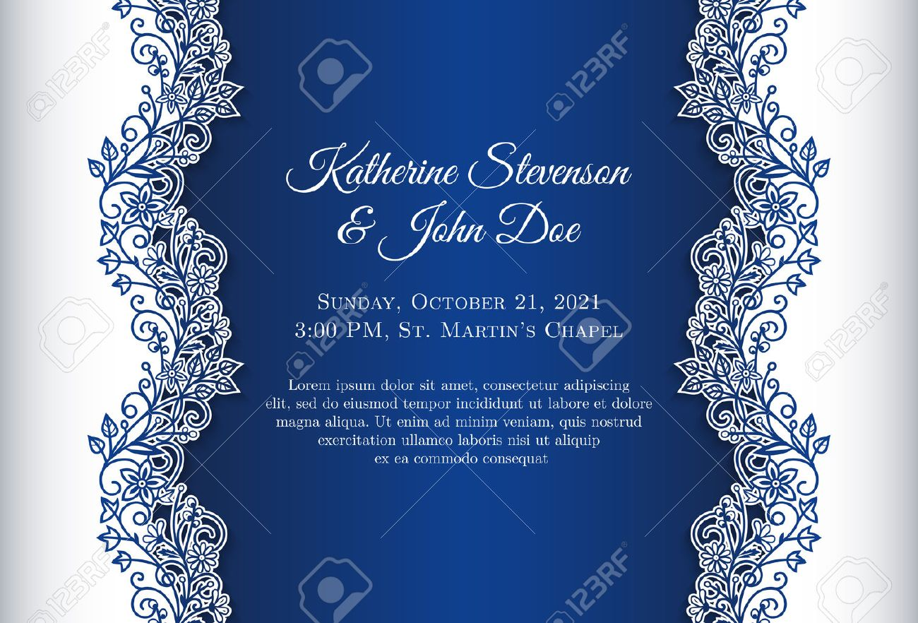 Romantic Wedding Invitation With Blue Background And Floral Ornament ...