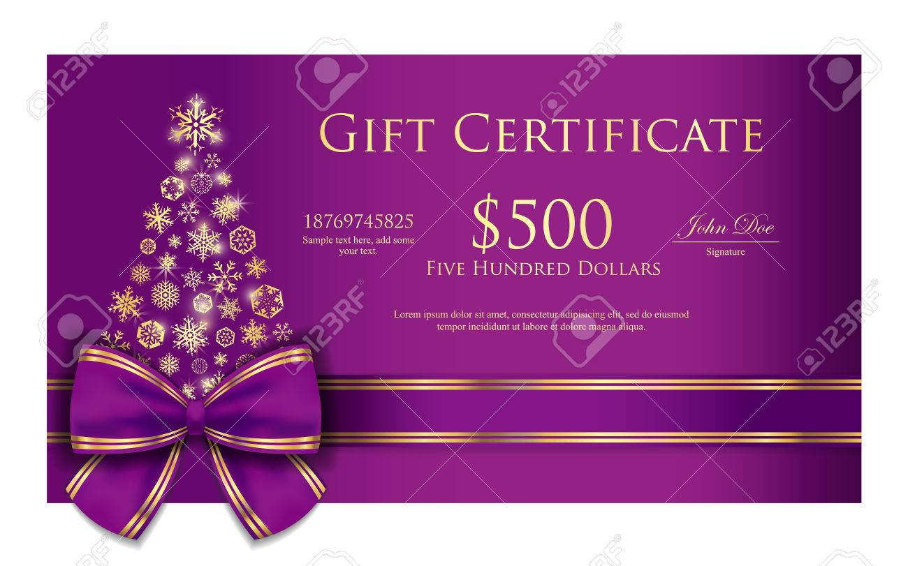 exclusive christmas gift certificate with purple ribbon and gold
