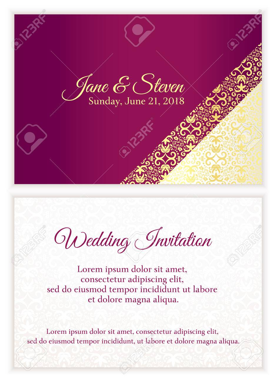 Purple Wedding Invitation With Luxury Golden Lace In Corner And ...