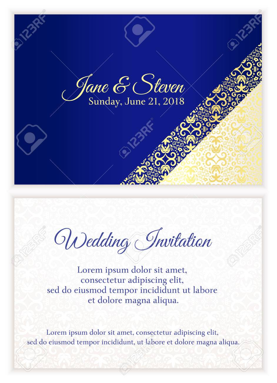 Blue Wedding Invitation With Luxury Golden Lace In Corner And ...