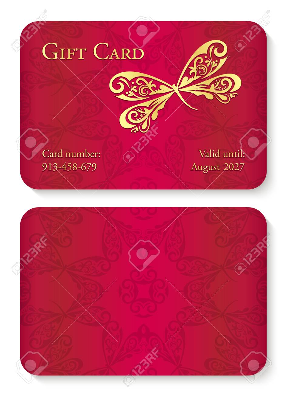 Luxury Red Gift Card With Dragonfly Ornament Front Side With