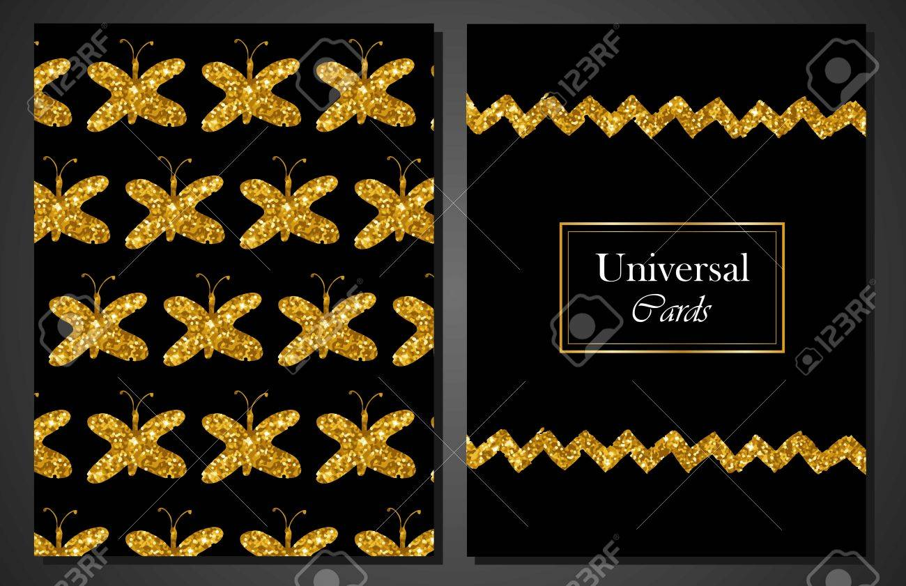 Sammlung Von Universal Modern Stylish Karten Vorlagen Mit Goldenen ...