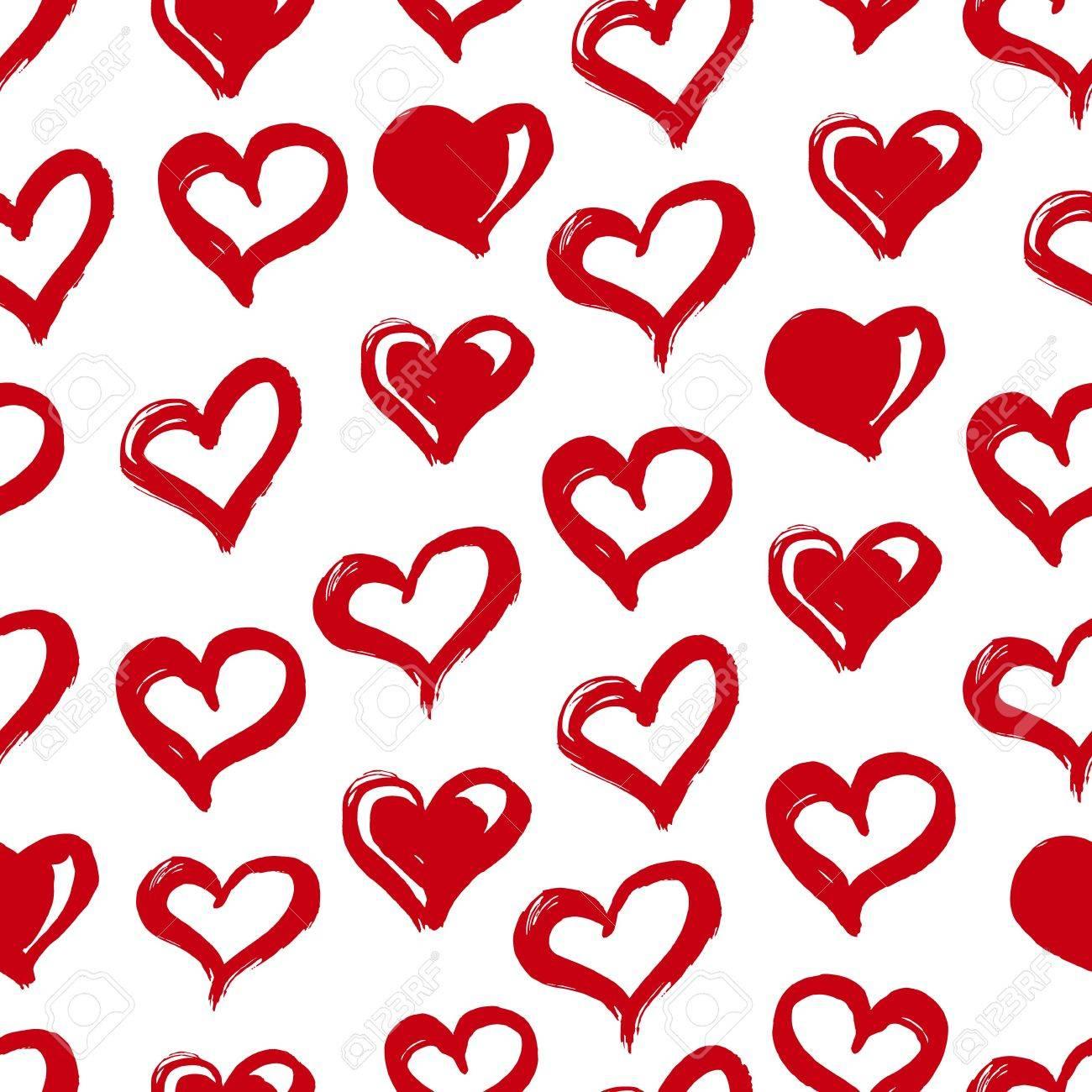 シームレスなハート柄インクと手書き赤と白愛の概念printables