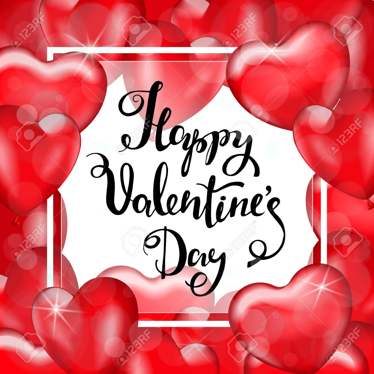 Happy Valentine\'s Day. White Frame, Red Heart Balloons. Hand ...