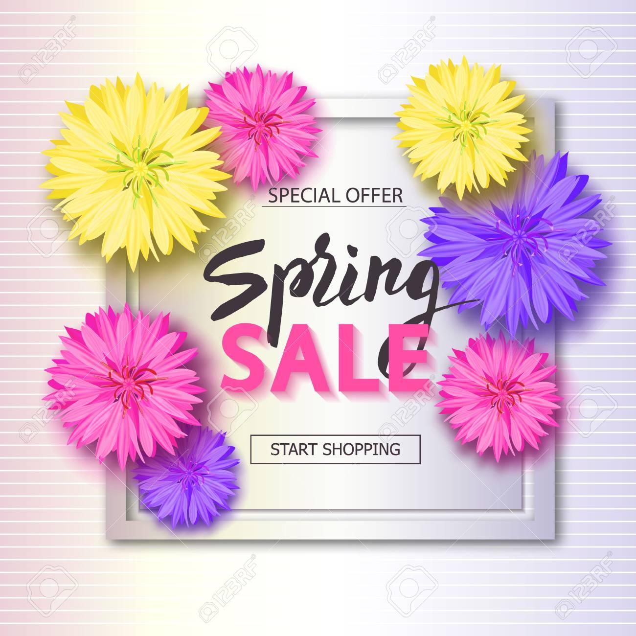 花と春の販売の背景 シーズン割引バナー ベクトル イラスト
