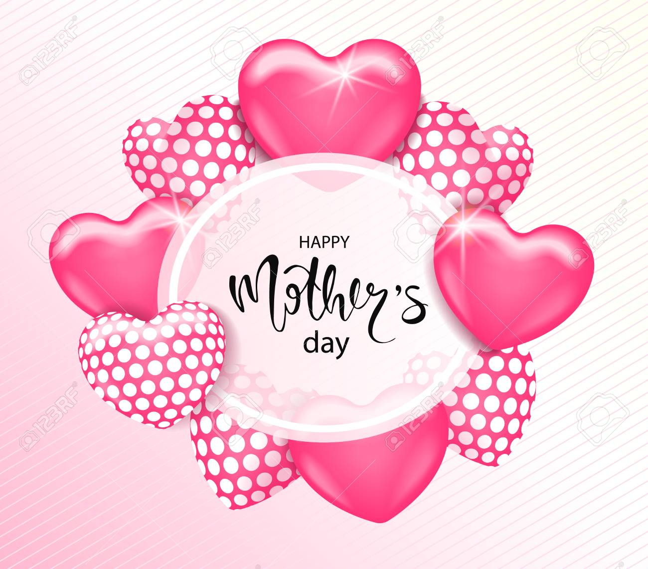Happy Mothers Day Card Template With Cute Pink Heart Balloons - Free mother's day card templates