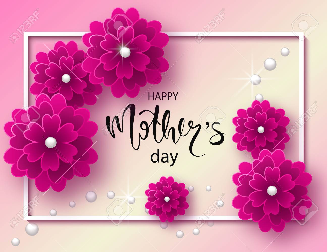 Happy Mothers Day Background With Beautiful Flowers And Beads