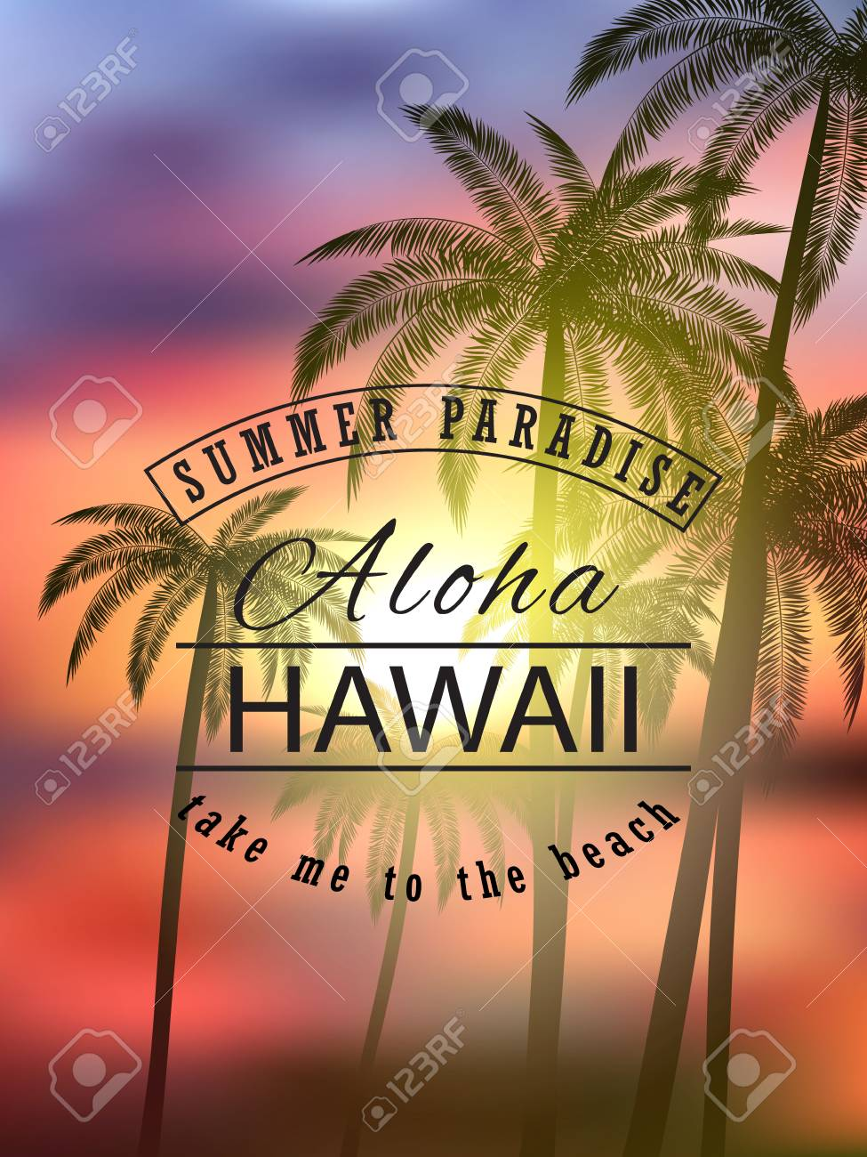 Aloha Hawaii Summer Tropical Background With Palms Sky And Sunset Vector Illustration Eps