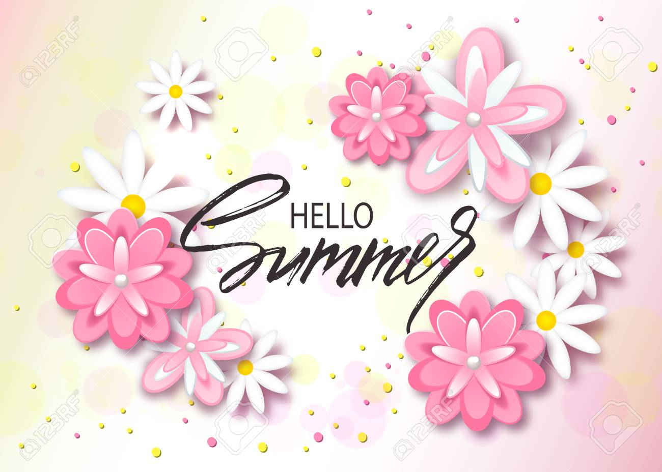 Hello Summer Background With Beautiful Flowers. Greeting Card With Hand  Drawn Lettering. Vector Illustration