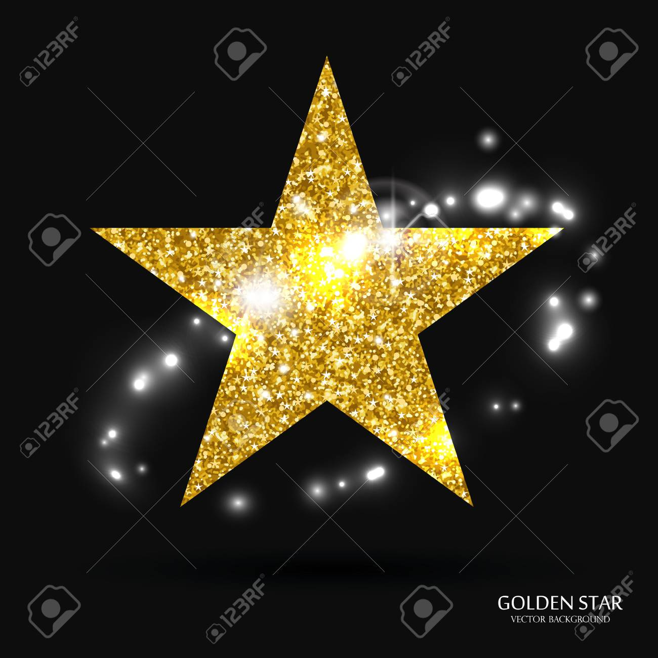 Goldener Stern Vektor-Banner. Gold-Glitter Stern. Gold-Vorlage Stern ...