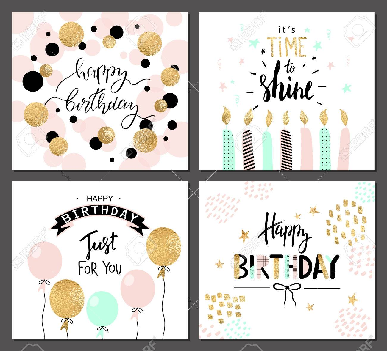 Happy birthday greeting cards and party invitation templates happy birthday greeting cards and party invitation templates with lettering text vector illustration hand stopboris Image collections