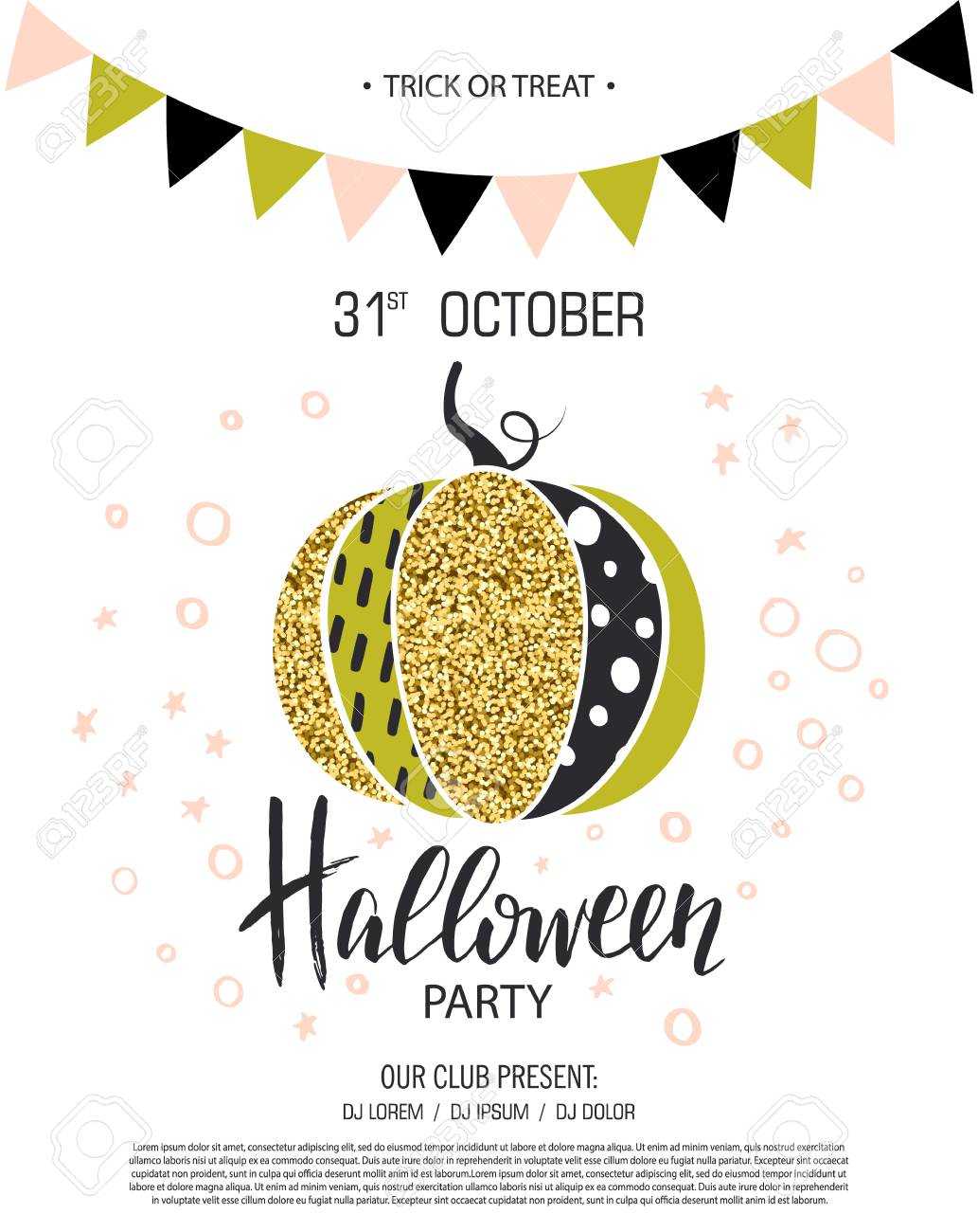 invitation to party with cute glamorous sparkling pumpkin vector illustration design