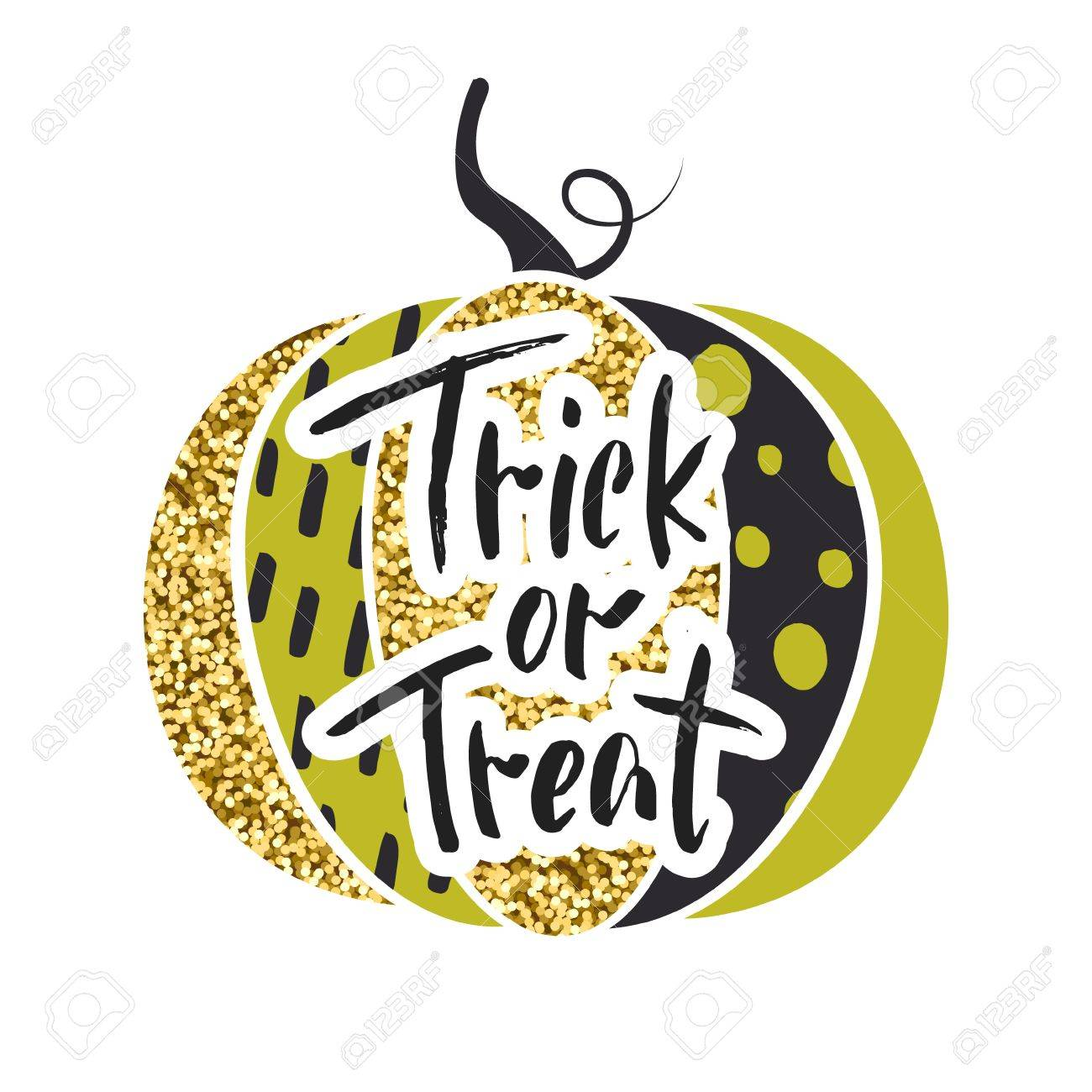 glamorous sparkling pumpkin with gold tinsel vector illustration