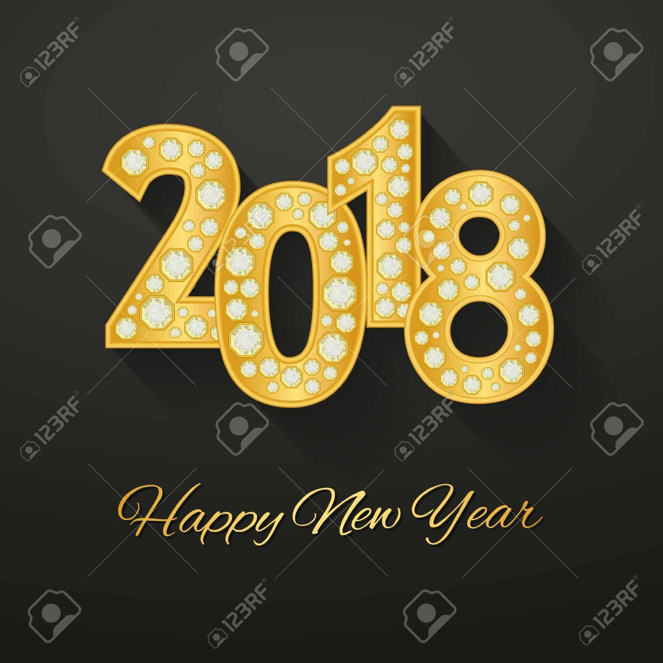 happy new year 2018 greeting card design with golden number and diamonds vector illustration