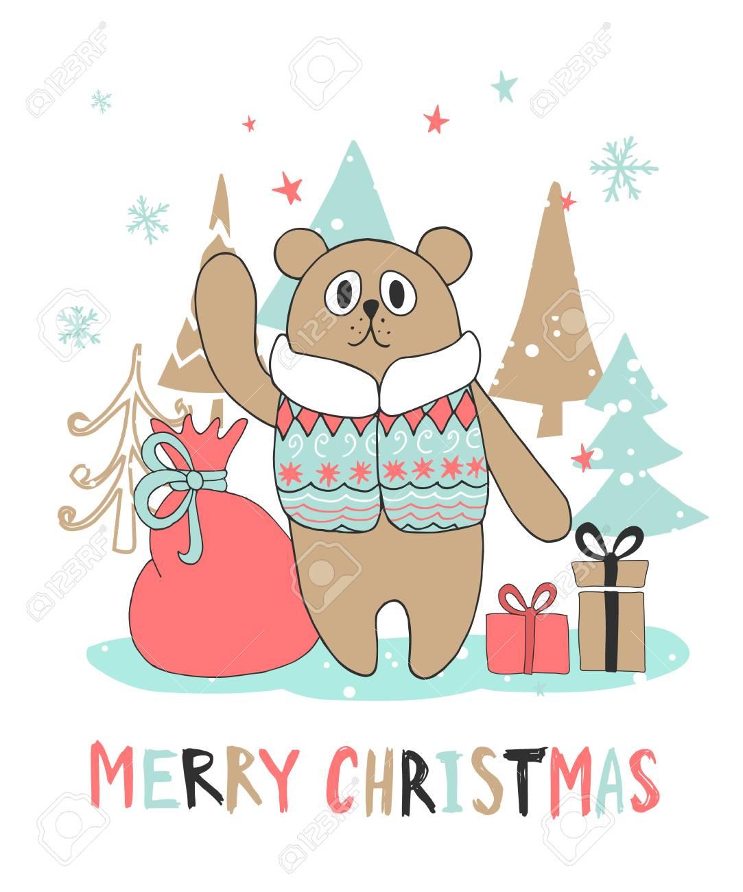 Cute Christmas Greeting Card With Bear Vector Illustration Royalty