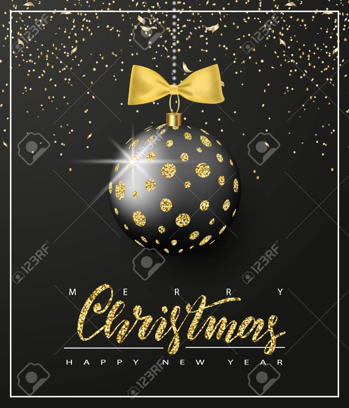 Ornate Christmas Ball With Glitter And Gold Bow On A Black Background. Christmas  Greeting Card