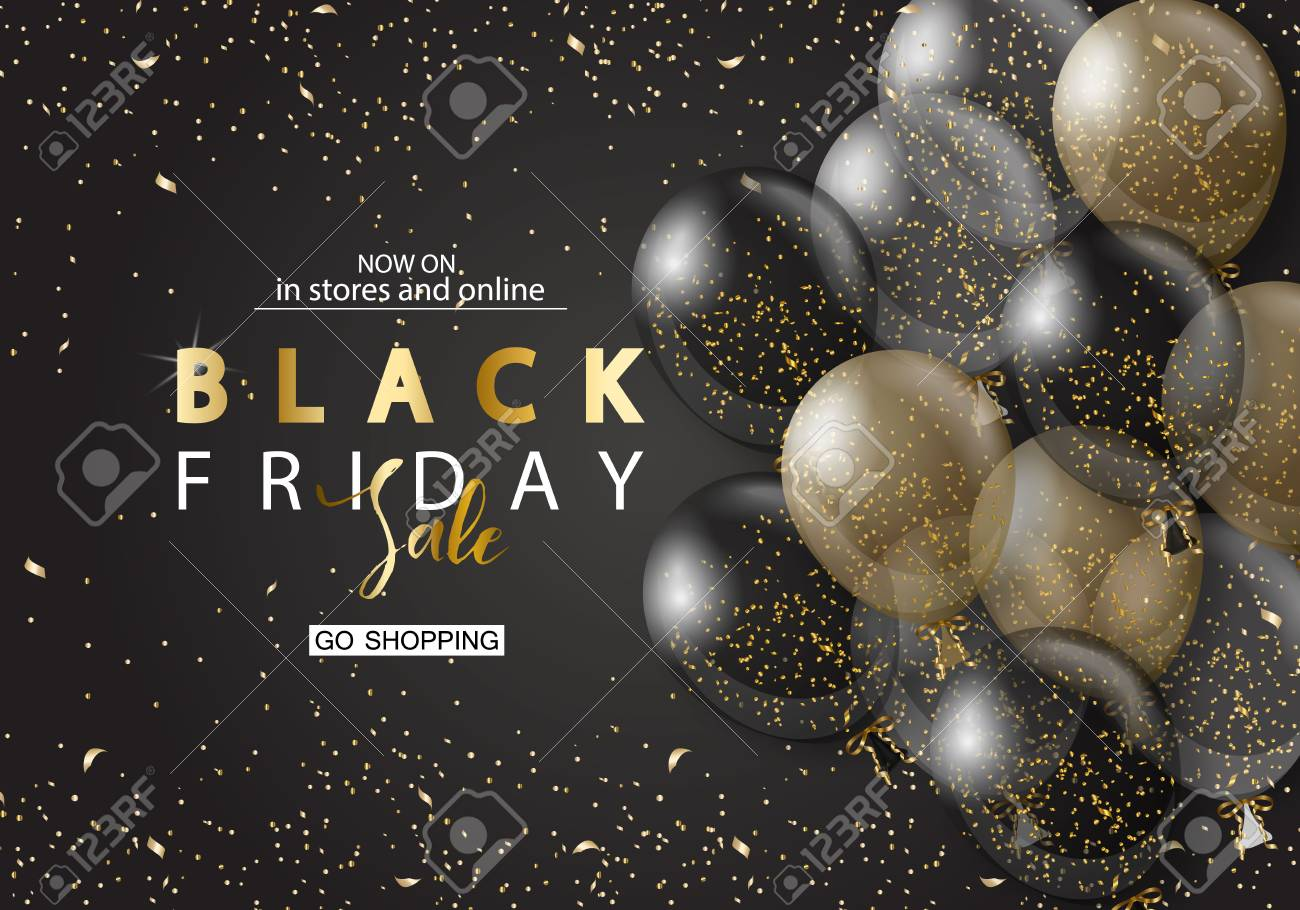 Black friday sale background with transparent realistic balloons. Modern design.Universal vector background for poster, banners, flyers, card - 89111593