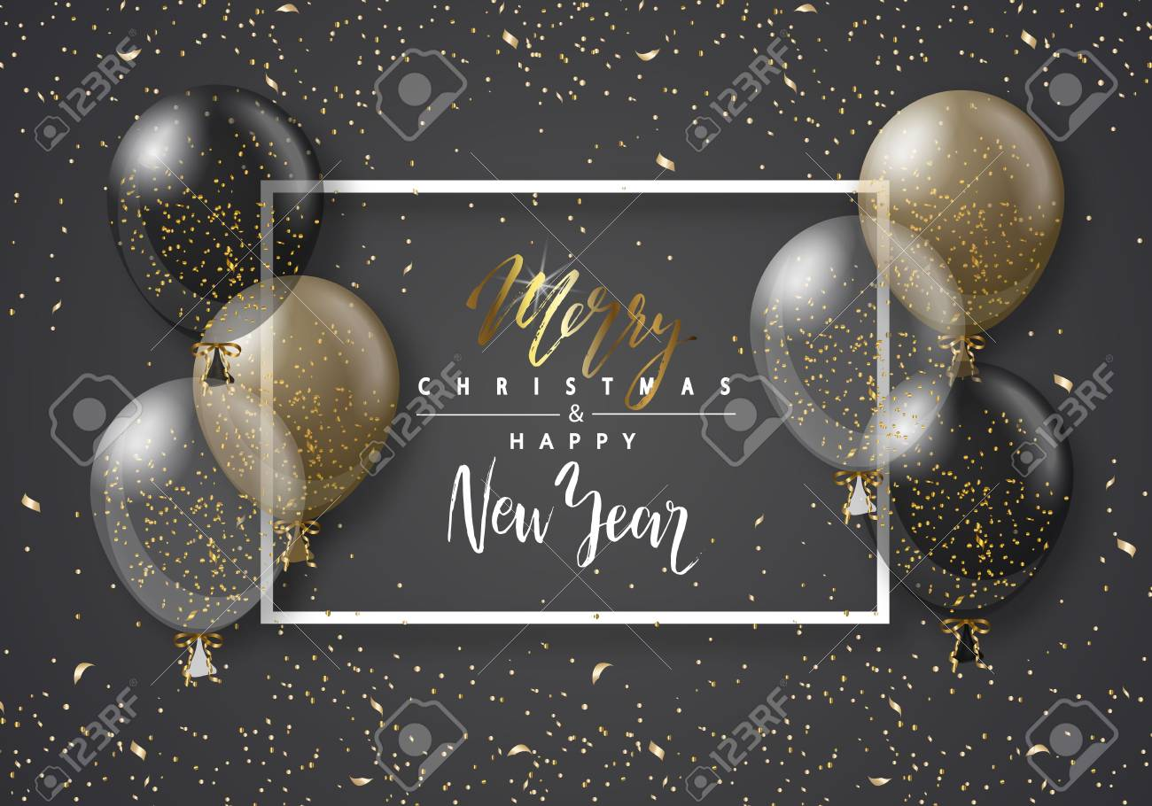 merry christmas and happy new year background with transparent realistic balloons modern designuniversal