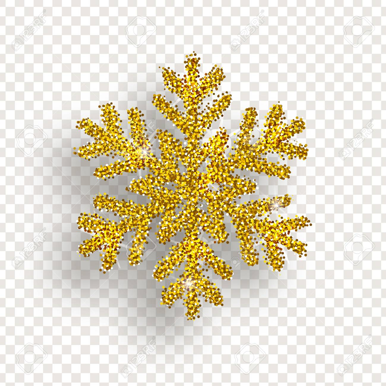 Golden snowflake with bright glitter on transparent background