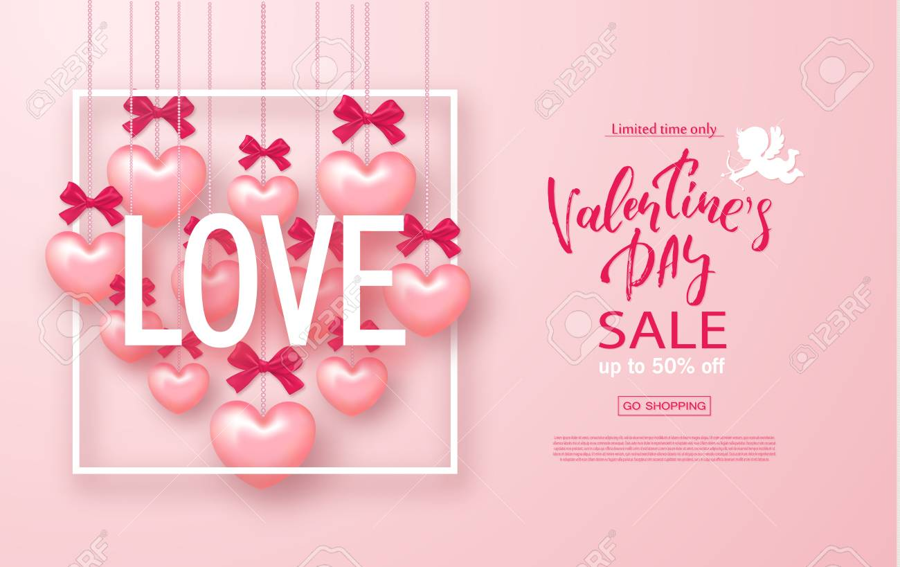 Valentines Day Sale Banner Beautiful Background With Hearts