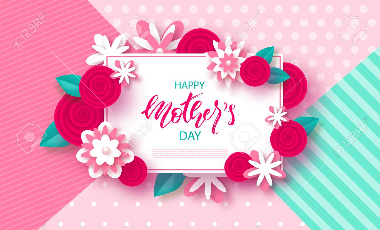 Happy Mothers Day Banner Beautiful Background With Flowers Vector Illustration Stock