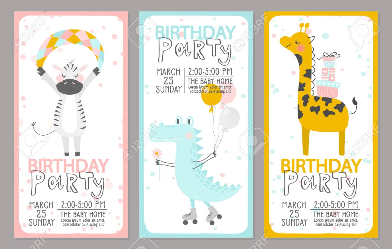 Set Of Birthday Party Invitation Templates With Cute Animals Vector Illustration Stock