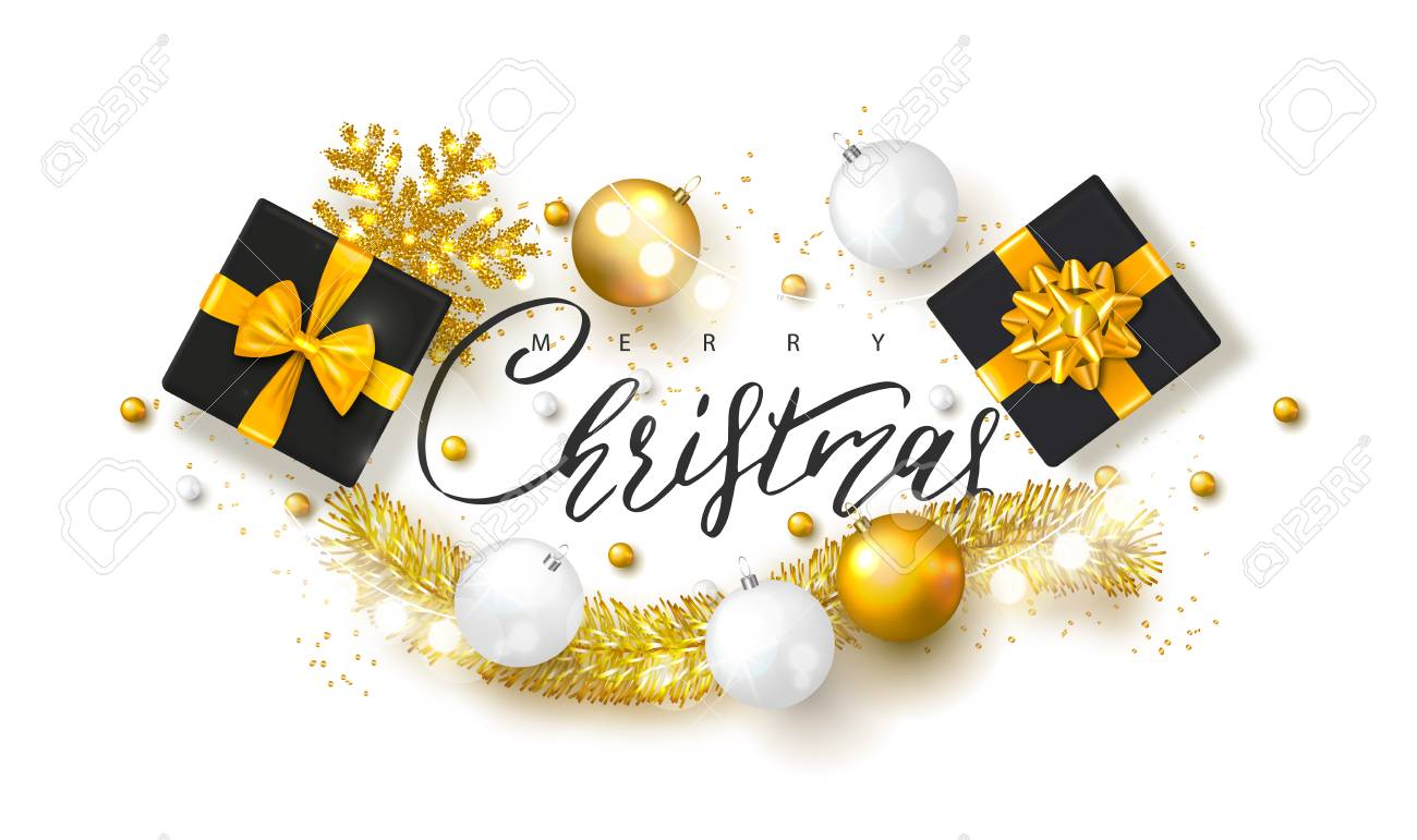 2019 merry christmas and happy new year background with christmas ballsgift boxes and tinsel