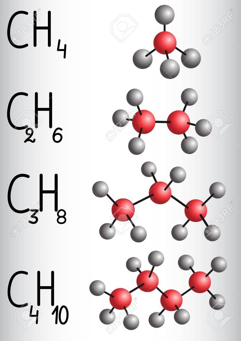 Fórmula Química Y Modelo De Molécula De Metano Ch4 Etano C2h4 Propano C3h8 Butano C4h10 Serie Homóloga De Alcanos Ilustración Vectorial