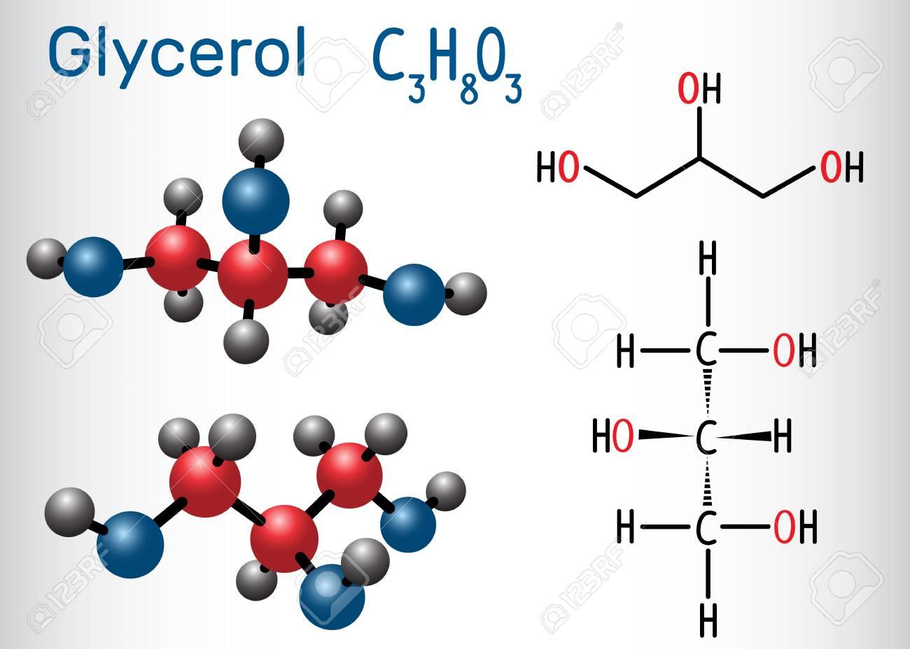 Glycerol (glycerine) molecule  Structural chemical formula and