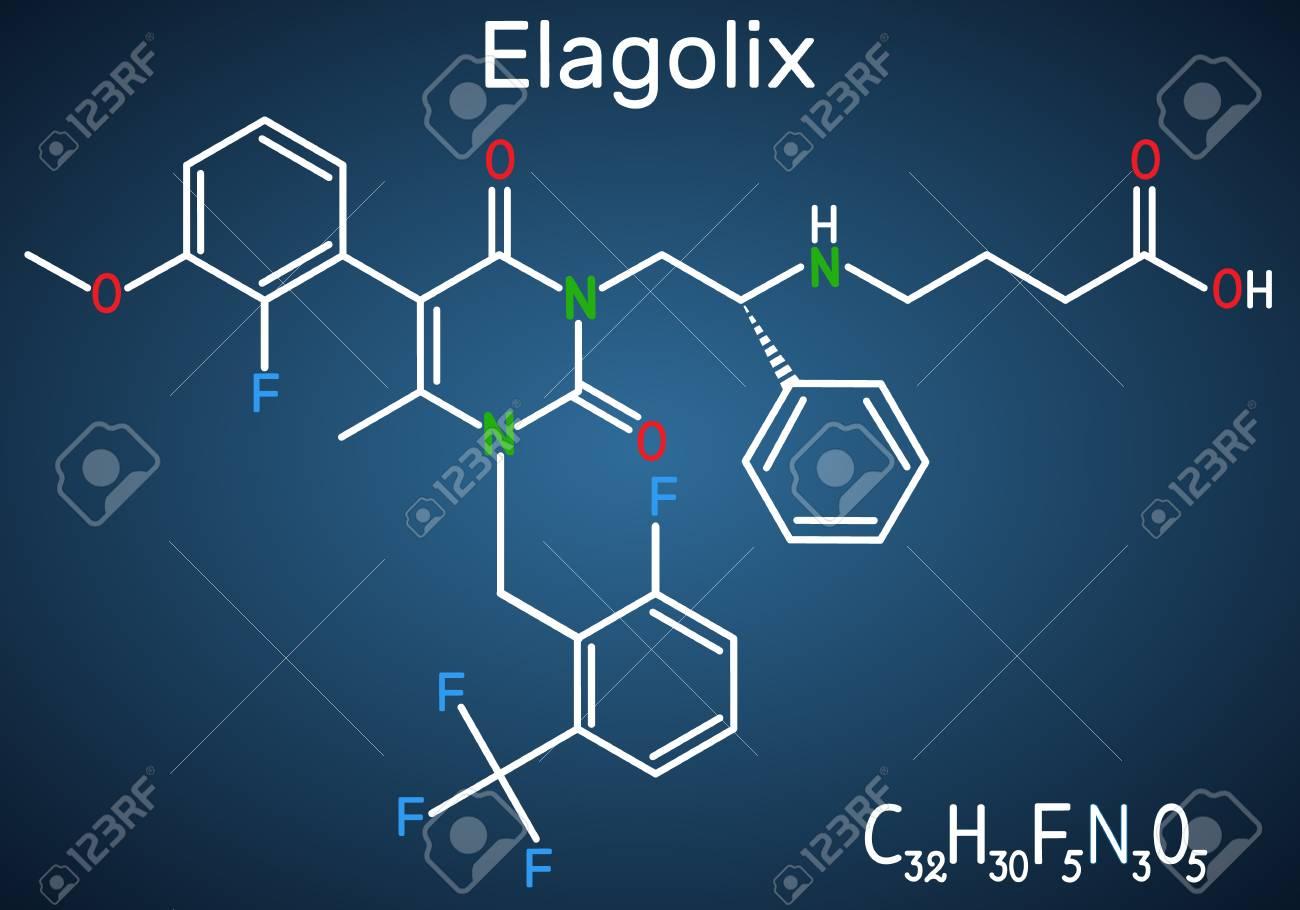 Elagolix drug molecule. It is gonadotropin-releasing hormone antagonists. Structural chemical formula on the dark blue background. Vector illustration - 124098193
