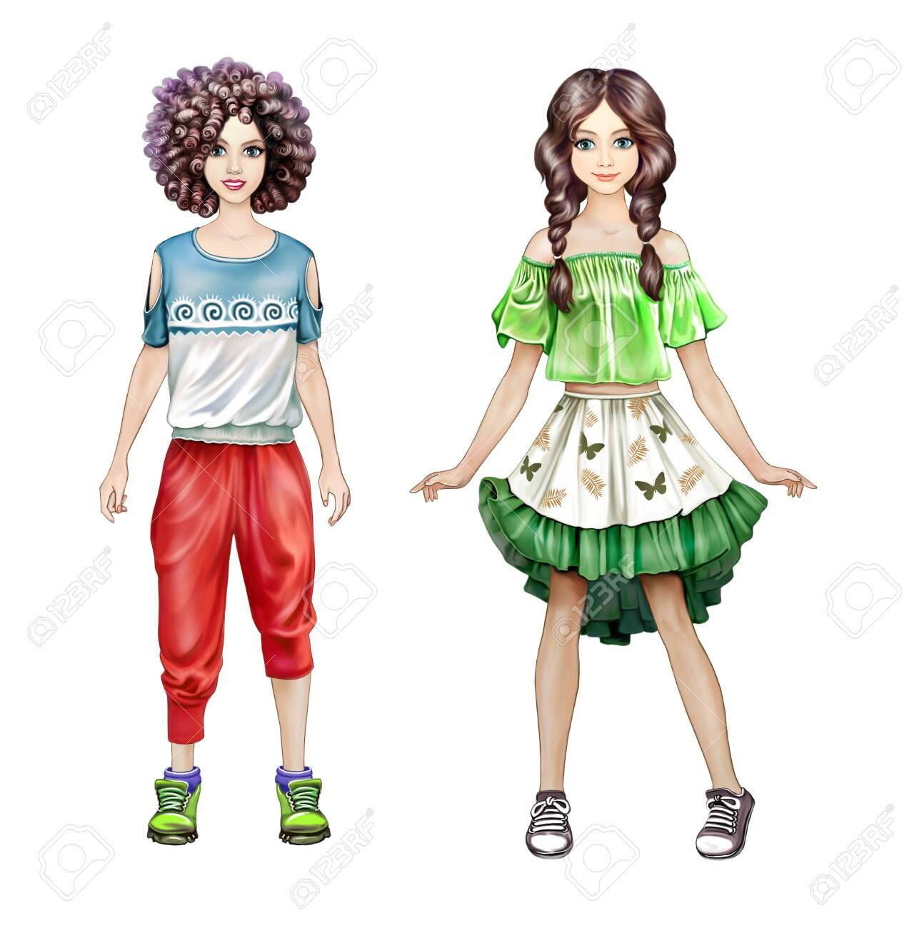 Teenage Girls In Fashion Clothes Trendy Schoolgirls Paper Dolls Stock Photo Picture And Royalty Free Image 147553414