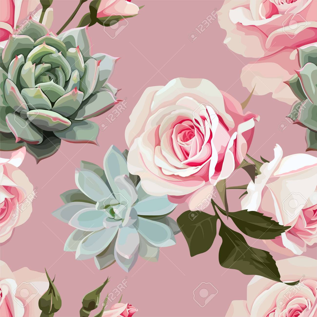 Succulents And Roses Vector Seamless Pattern Of Floral Ornament