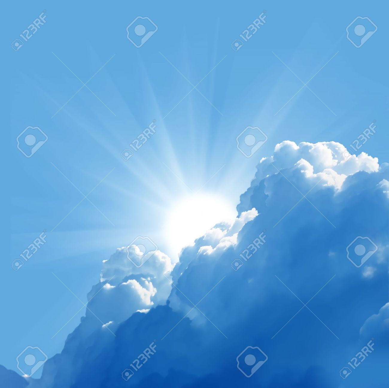 blue sky with sun and beautiful clouds Stock Photo - 20350669