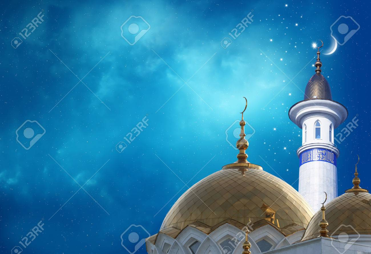 Mosque background for ramadan kareem stock photography image - Ramadan Kareem Background Crescent Moon At A Top Of A Mosque Stock Photo 56977739